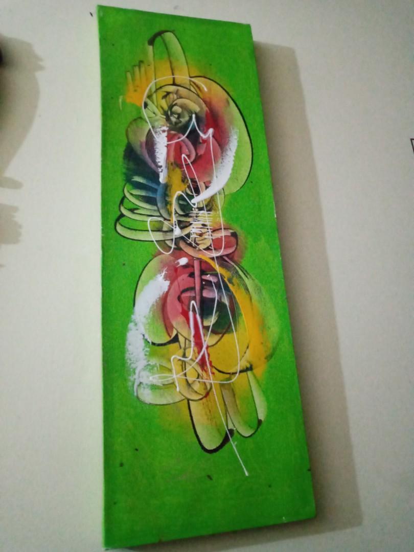 Lukisan abstract painting green