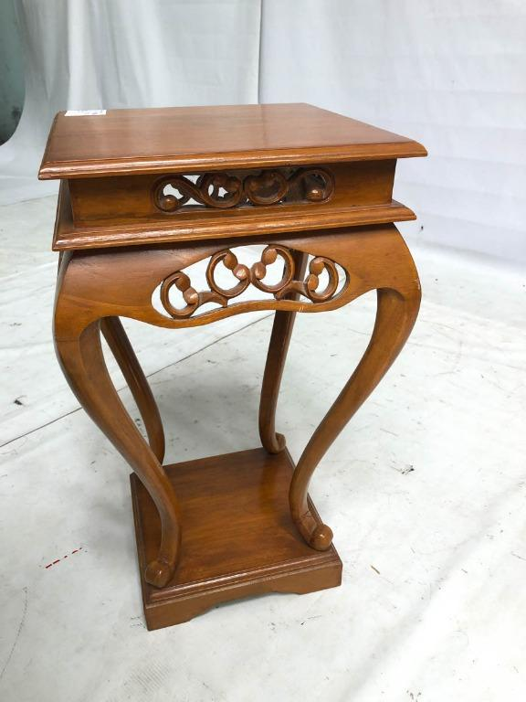 Teak Wood Vintage Colonial Old Malaya Style Side Table