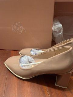 🌙漆皮方頭跟鞋(藕粉色)21家鞋