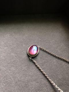 尼泊爾純銀粉月光石鎖骨鍊