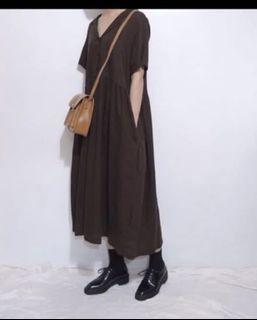 二手日系洋果子咖啡復古國民領棉麻洋裝