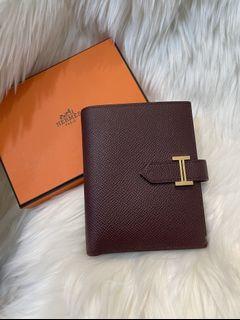 不再議價 Hermès bearn 酒紅色 金扣 皮夾 很高級的顏色