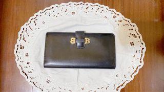 日本二手精品BALLY 貝利Bally 經典扣式黑色長夾 vintage 金色logo 黑色皮夾 黑色長夾 真皮長夾 錢包