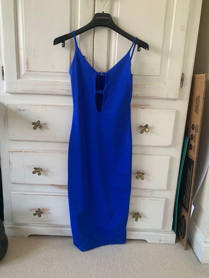 Blue bodycon midi dress