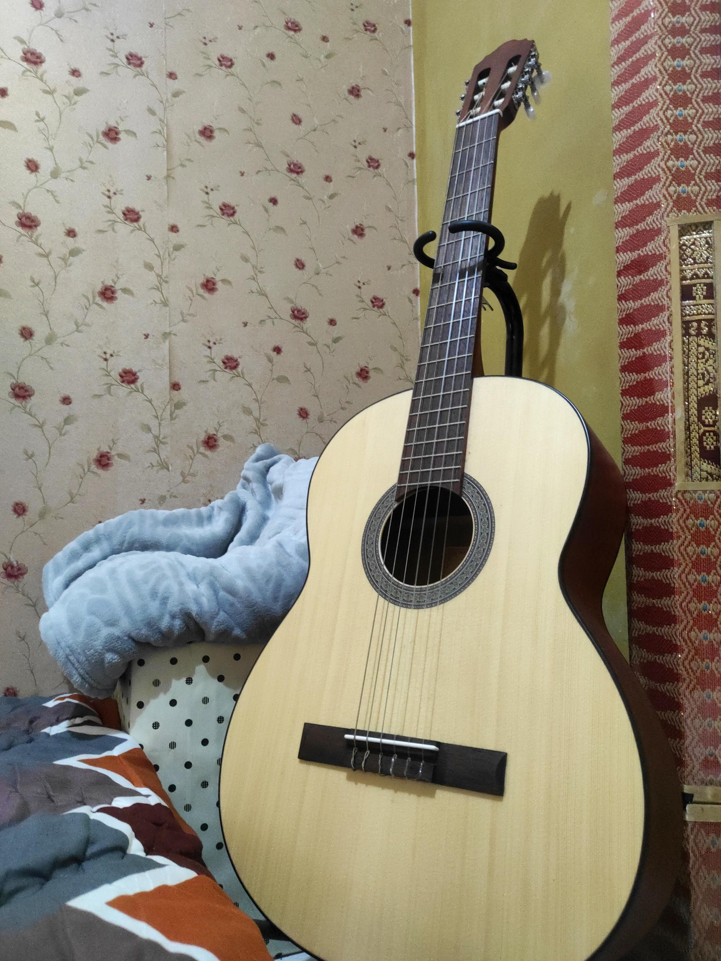 Cort Guitar AC100 0P + Stand Guitar + Capo + Guitar Bag