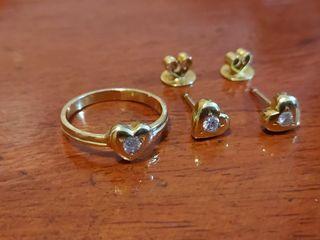 Diamond Ring And Earrings Set