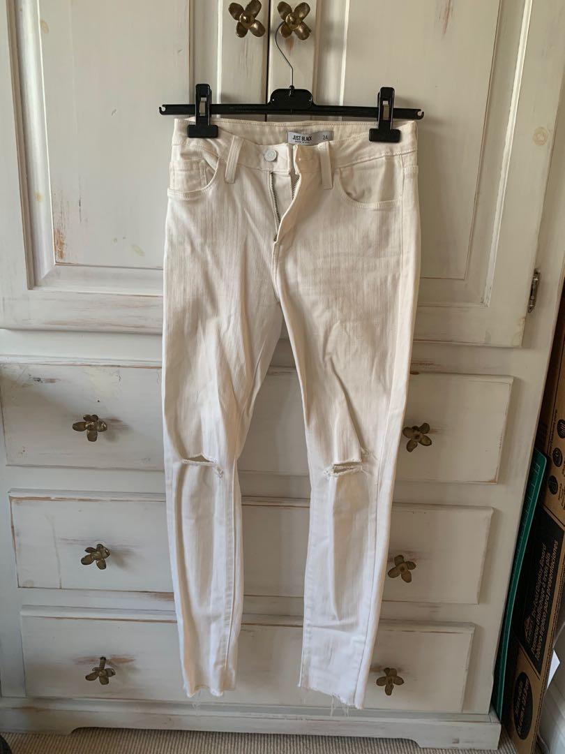 Just Black White Skinny Jeans size 24