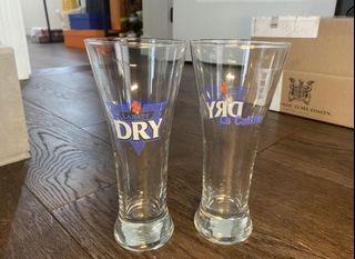 Labatt dry La Catcher beer glass set of 2