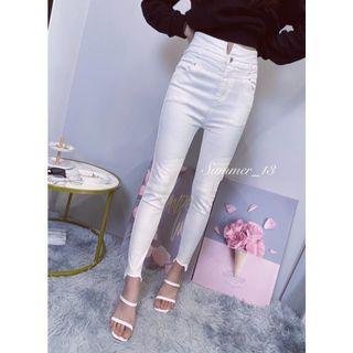 正韓高腰白色牛仔褲M號