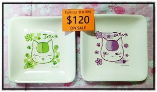 nanaco x 夏目友人帳(ニャンコ先生)換購品 繪碟一套兩隻 ~10x10cm 綠川幸 夏目貴志 貓咪老師