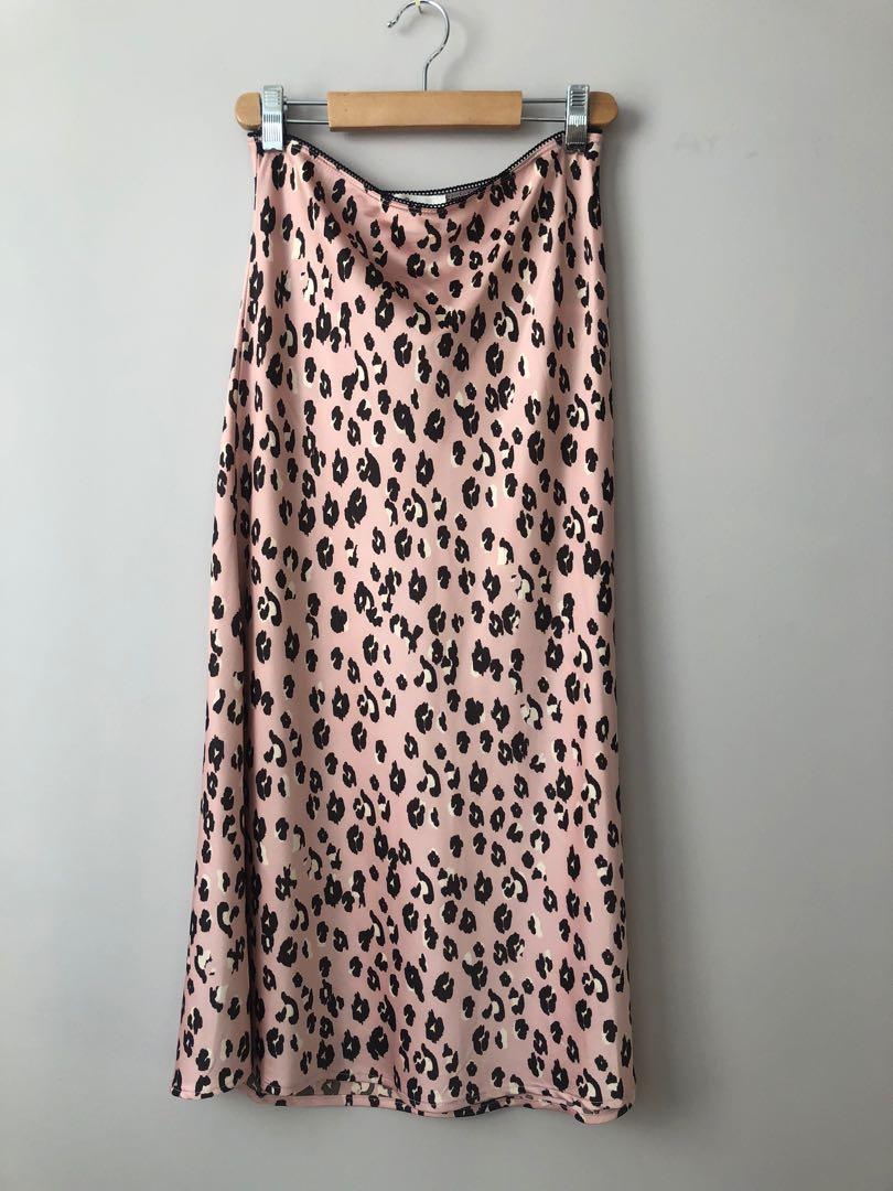 Pink Leopard Slip Skirt