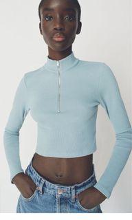 Zara Half Zip long sleeve top Size M