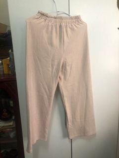 杏色棉寬褲