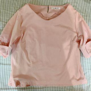 日貨蝴蝶結粉紅五分袖上衣