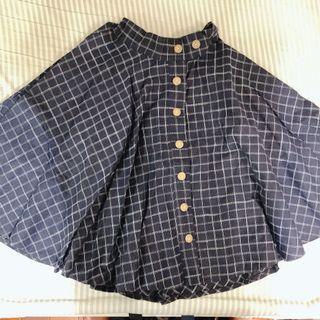 深藍色格紋挺版中長裙