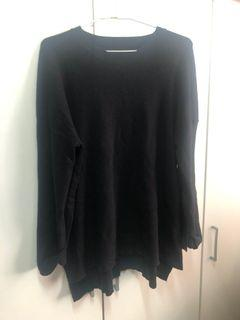 黑色毛衣 側開叉