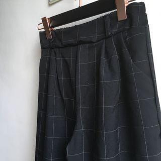 日系 細格紋直筒寬褲 長褲