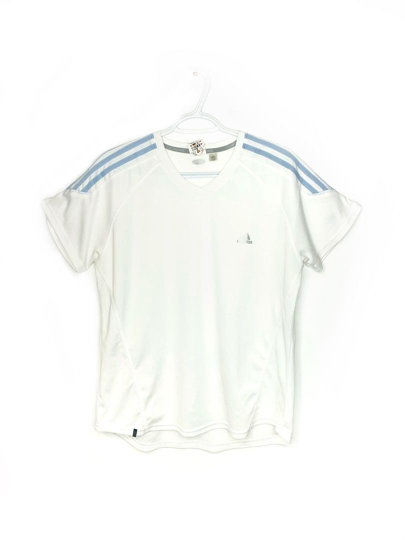 ADIDAS BABY-BLUE STRIPED WORKOUT TOP