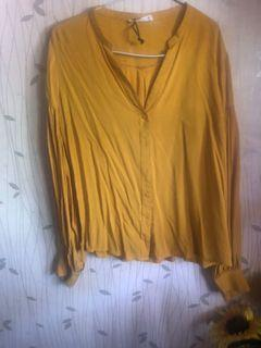 blouse kuning mustrad puff sleve