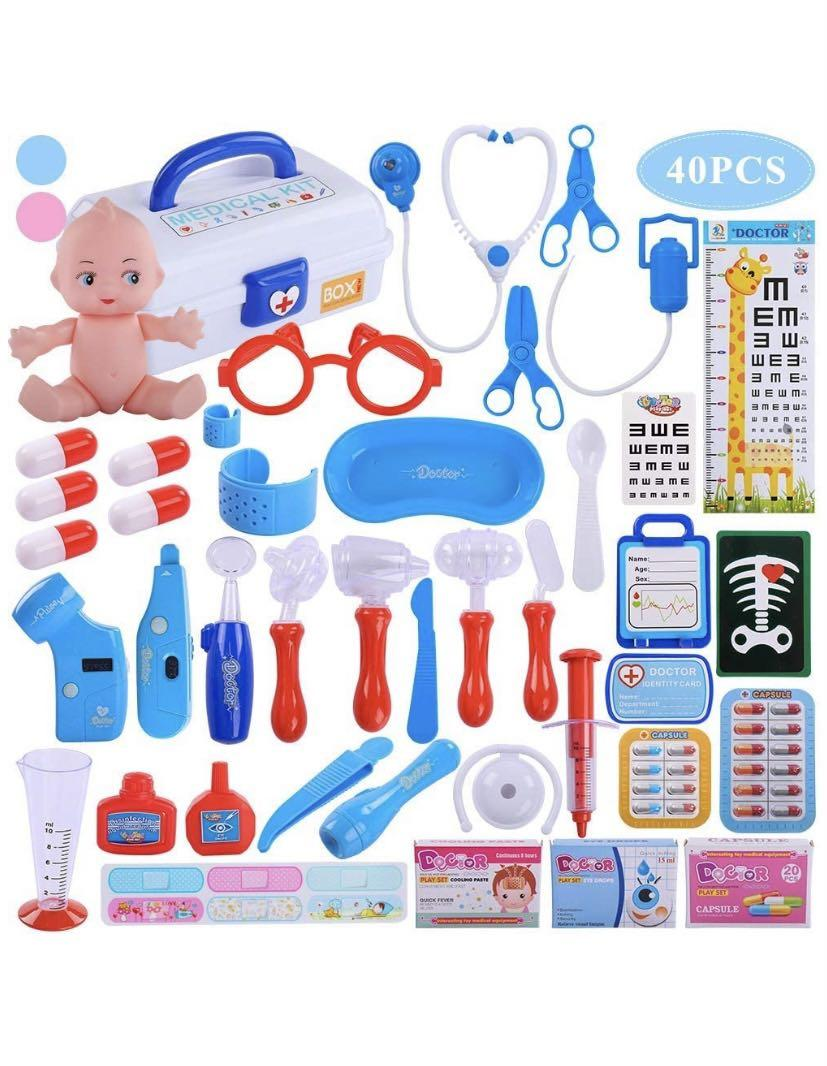 Brand new Doctor Medical Kit, 40 PCS Pretend Play Set w/ Doll n Carrying Case