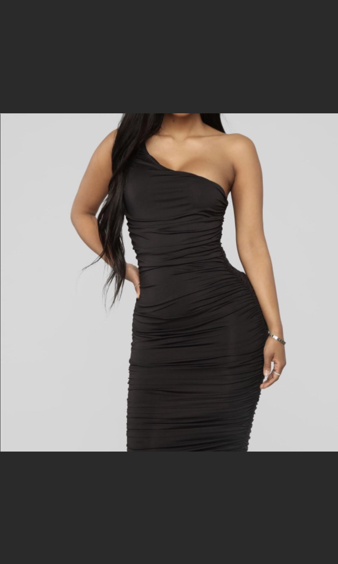 FashionNova | XS Ruched One Shoulder Midi Dress