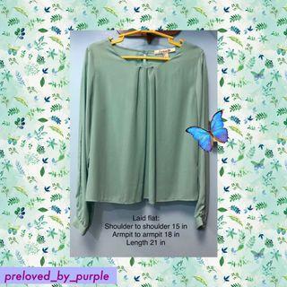 Forever21• F21• long sleeves blouse - green