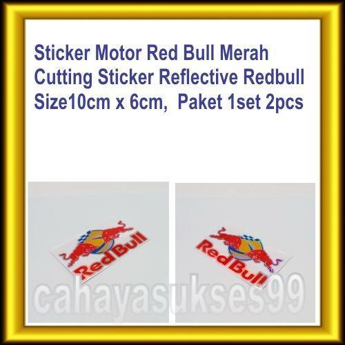 Sticker Motor Stiker Cutting Red Bull Merah 10cm x 6cm Cutting Sticker Body Motor Redbull Moge Stiker Kaca Mobil Kilap Reflective Paket 1set 2pcs