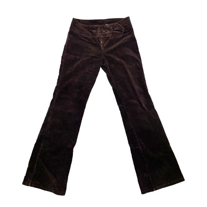 VINTAGE BROWN SUEDE FLARE PANTS WITH ATTACHED BELT