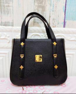 Vintage MCM Mini Handbag Leather Black GHW