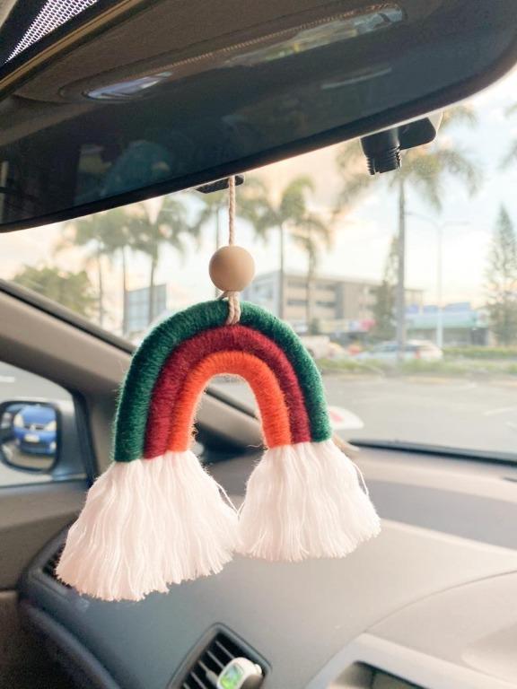 Rainbow Rearview Mirror Charm Rainbow Macrame Car Diffuser Rainbow Car Charm