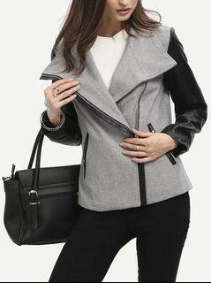 Women's Faux Leather Sleeve Moto Jacket