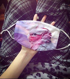 粉紅巴丹鸚鵡棉布口罩(耳掛可調節式)