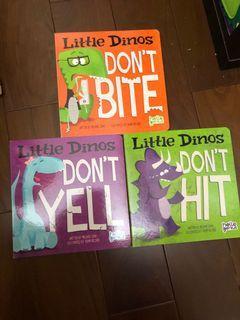 三本一套。英文繪本。硬紙書。情緒管理童書。恐龍🦕繪本。
