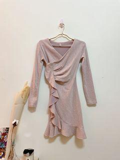 氣質婚宴粉色魚尾長袖洋裝