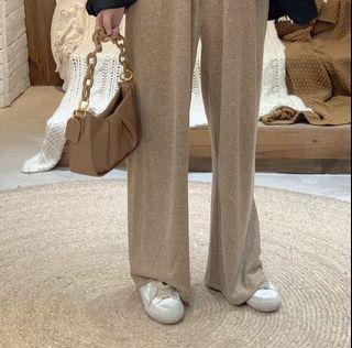 韓系 針織褲 闊腿褲 小姊姊 溫柔 厚磅 垂墜 條紋 質感 米色 百搭