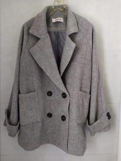 Cumar 羊毛 灰色 西裝外套 西外 大口袋 專櫃