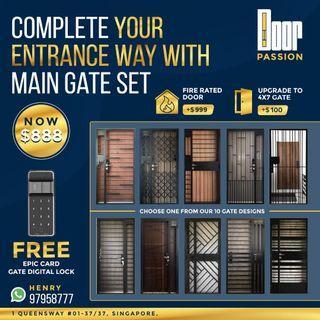 (MEGA SALES) HDB Main Door , Gate , Digital Lock Promo