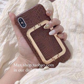 秋冬紅棕色金屬支架iphone11promax手機殼