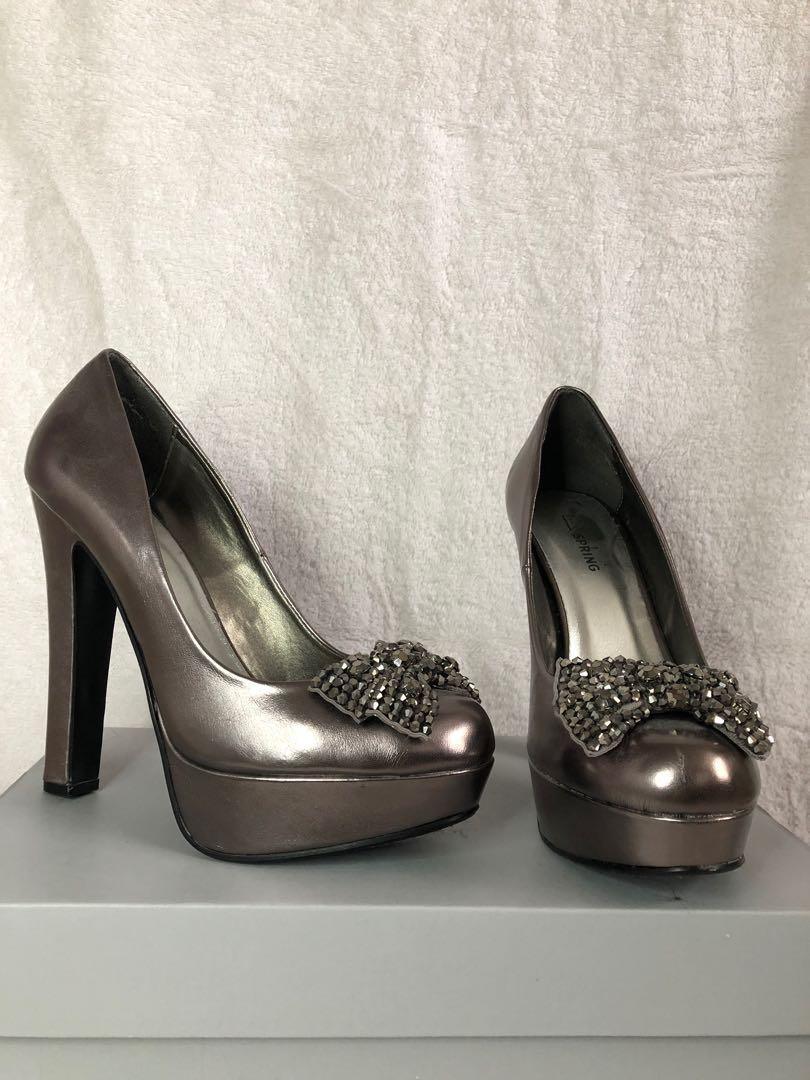 Metallic grey platform heels