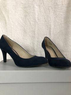 Navy blue Swede heels