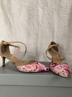 Pink floral kitten heels