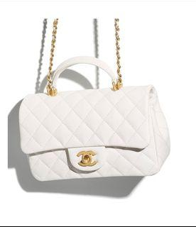 (sold) 2021新款 Chanel mini flap with top handle 20 cf20 mf 牛皮