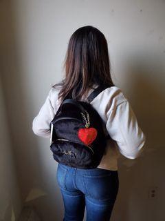 Black Furry Midsize Backpack