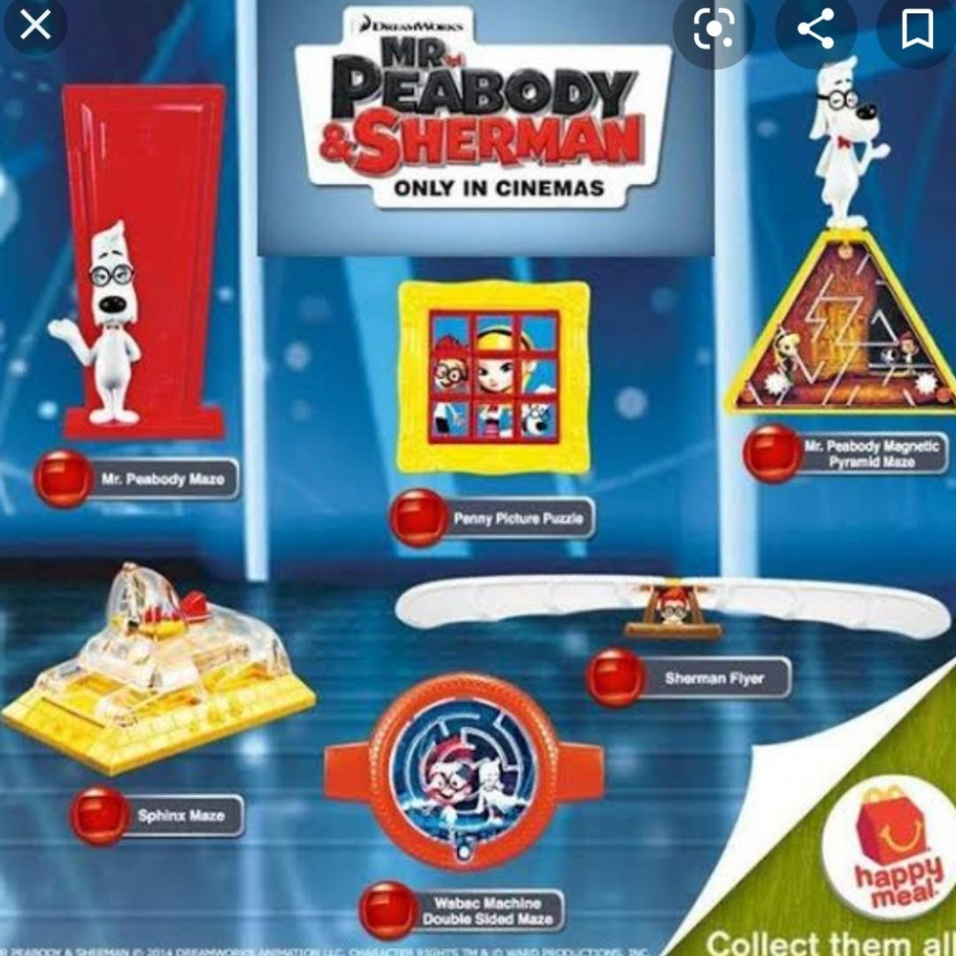Mainan Mr. Peabody & Sherman Happy Meal McDonald's (6 pcs)