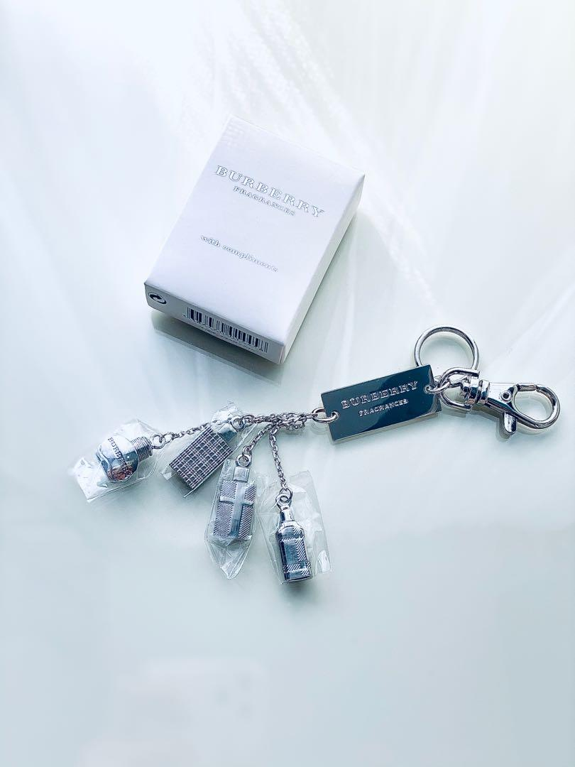 NEW Burberry silver Key chain fragrance charms perfume cologne
