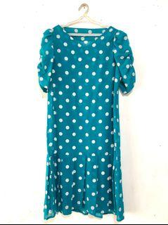 Sheer Pleated Polka Dots Dress with Puff Sleeves - Teal
