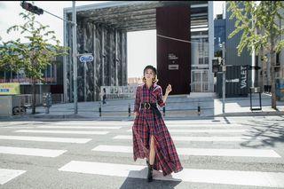 唐葳設計款紅色格紋襯衫修身長袖長洋裝zara.miluku.marjorie.gracegift.h&m