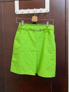 古著 辣妹裙 亮綠色短裙