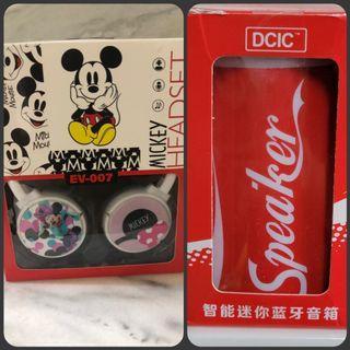 全新 現貨 迪士尼米奇米妮 Mackey Minnie ev-007 耳機 可樂造型智能迷你藍芽音箱 娃娃機
