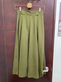 古著 草綠色 傘狀裙 vintage